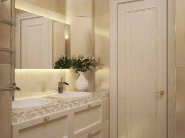Дизайн интерьера бежевой ванной комнаты