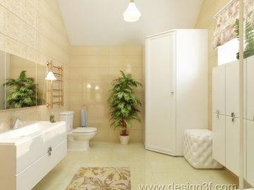 Большая ванная комната в теплых тонах