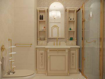 Светлый интерьер классической ванной комнаты