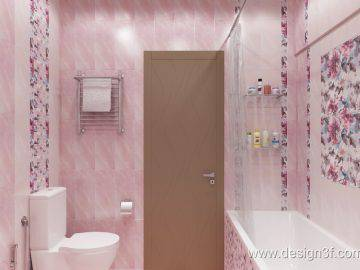 Интерьер ванной комнаты в розовых тонах