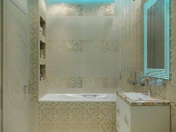 Бежевая мозаика в ванной комнате