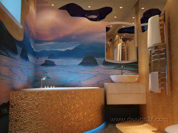 Золотая мозаика в интерьере ванной