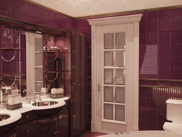 Ванная комната в бордовом цвете