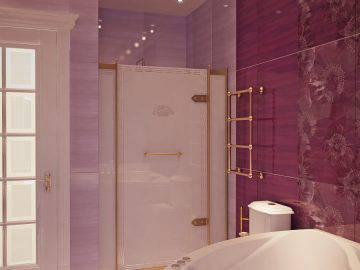 Бордовый цвет в ванной