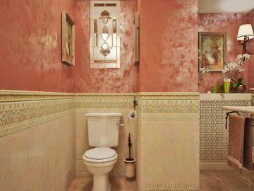 Коралловый цвет в интерьере ванной комнаты
