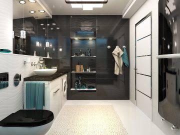 Темная ванная в стиле хай-тек