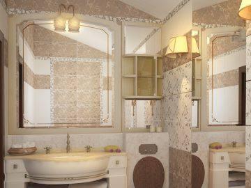 Теплые тона в ванной комнате