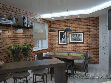 Интерьер студии с кирпичной стеной