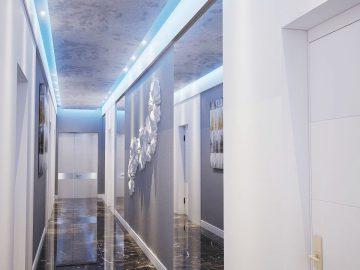 Оформление коридора в гостинице
