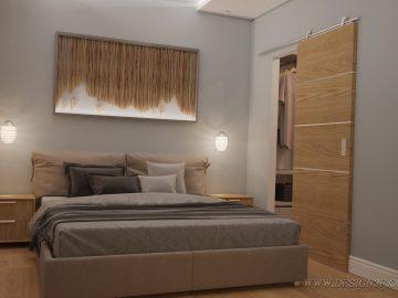 Современная спальня с гардеробной