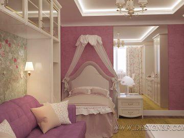Детская комната с кроваткой и диваном