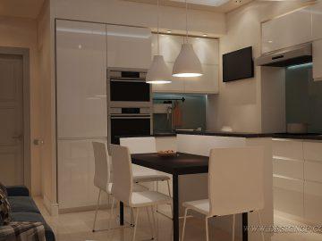 Белая глянцевая кухня — дизайн интерьера