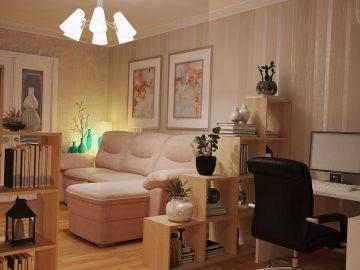 Интерьер небольшой гостиной с камином