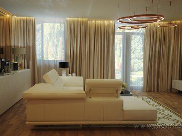 Современный интерьер гостиной с угловым диваном