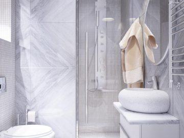 Интерьер ванной в серых тонах