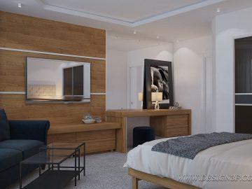 Белая спальня с деревянной мебелью