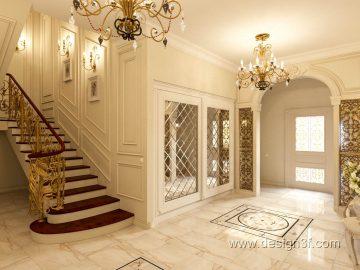 Интерьер холла в классическом стиле