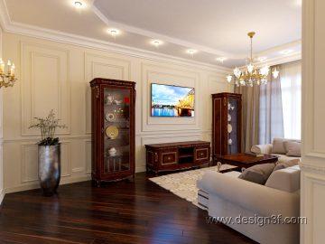 Интерьер гостиной и кухни в классическом стиле