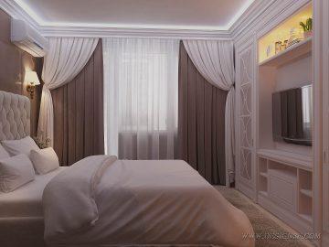 Эффектная коричневая спальня