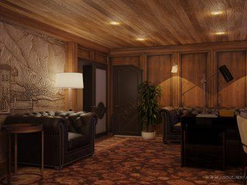 Дизайн интерьера кабинета с деревянными панелями