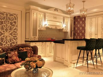 Дизайн интерьера гостиной кухни столовой классика