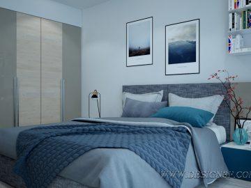 Современный дизайн спальни с панорамными окнами