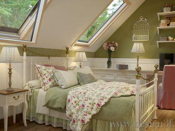 Интерьер спальни в стиле прованс в зеленом цвете