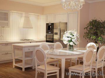 Интерьер гостиной совмещенной с кухней в стиле прованс