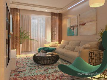 Дизайн интерьера гостиной с яркими акцентами