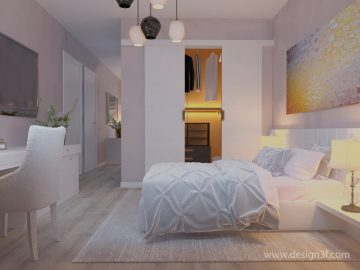 Интерьер спальни с яркой картиной