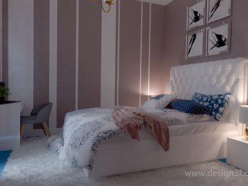 Оттенок пыльной розы в интерьере спальни