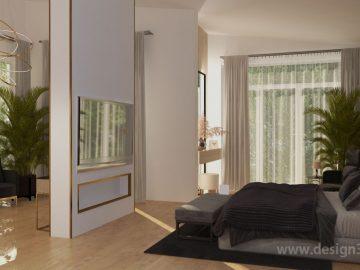 Современная спальная комната в доме