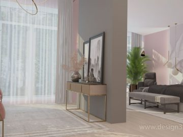 Серо-розовый интерьер спальни