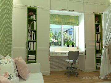 Детская комната зеленого цвета для девочки